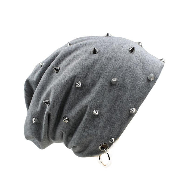 Hip-hop Beanie or Bonnet with Rivets and Hoop