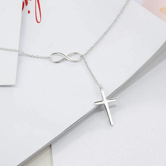 925 Sterling Silver Cross Pendant with Sideways Infinity Symbol Chain Necklace - InnovatoDesign