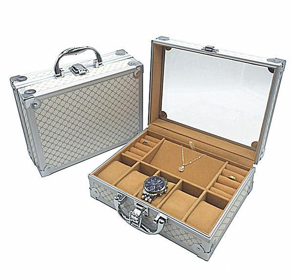 Luxury Silver Aluminum Watch and Jewelry Storage Suitcase - InnovatoDesign