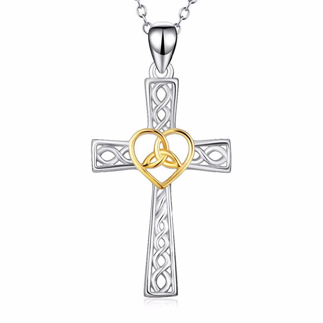 925 Sterling Silver Two-Tone Silver and Gold Knot Heart and Cross Pendant Necklace - InnovatoDesign