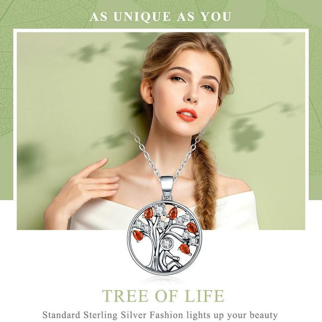 Red Cubic Zirconia Tree of Life Pendant Necklace - InnovatoDesign