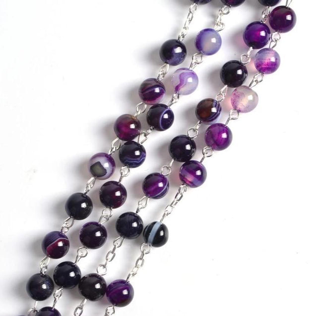 Purple Stone Beaded Rosary with Silver Cross - InnovatoDesign