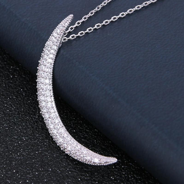 Thin Sterling Silver Crystal Moon Pendant and Necklace - InnovatoDesign