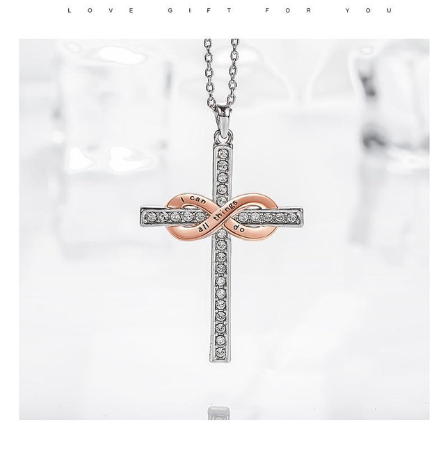 Interlocked Silver Cross and Rose Gold Infinity Symbol Pendant Necklace - InnovatoDesign