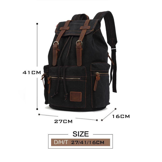 Vintage Canvas Leather 17.7 Litre Backpack with Drawstring - InnovatoDesign