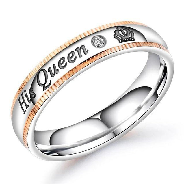 His and Her Silver Plated Stainless Steel with Engraved Crown and Cubic Zirconia Couple Ring - InnovatoDesign