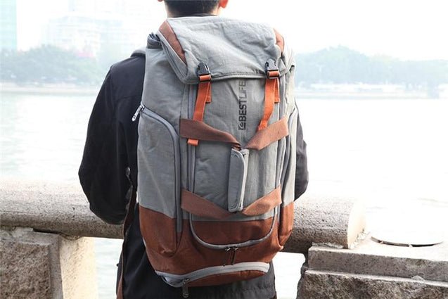 Gray Orange Outdoor Camping/Hiking 34 Litre Travel Backpack with Shoe Compartment - InnovatoDesign