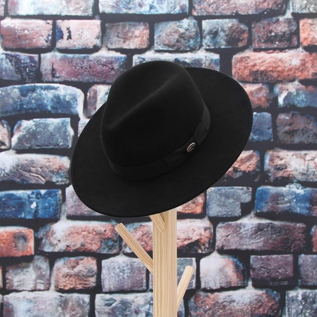Wide Brim Black Wool Felt Fedora Hat with Bowknot Hatband