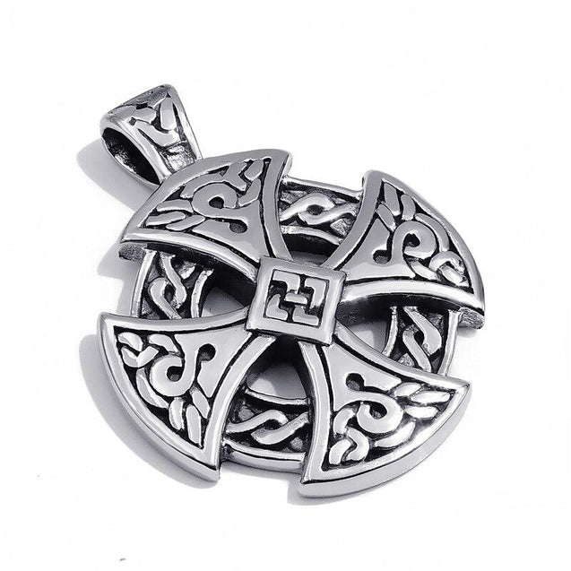 Celtic Sun Cross Black & Silver Vintage Pendant Chain Necklace - InnovatoDesign