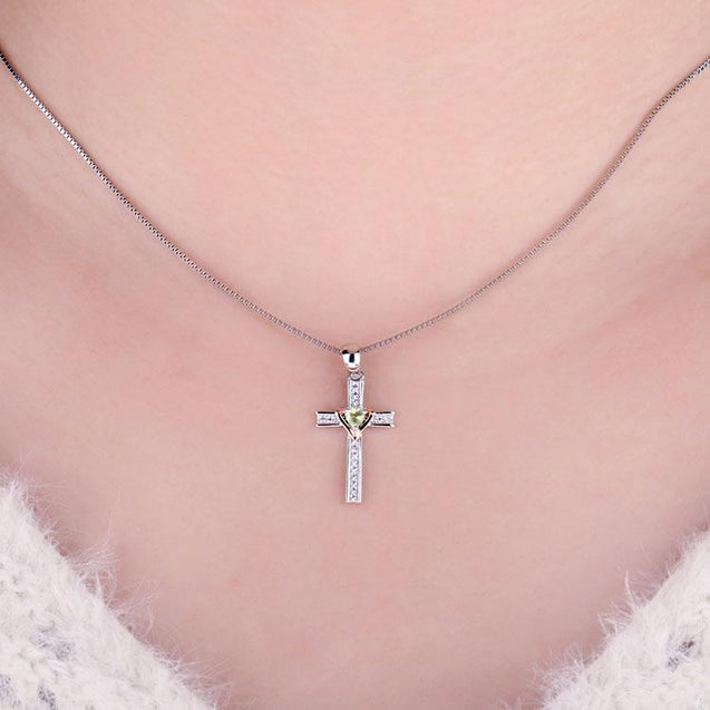925 Sterling Silver Peridot Heart Crystal on Silver Cross Pendant and Chain Necklace - InnovatoDesign