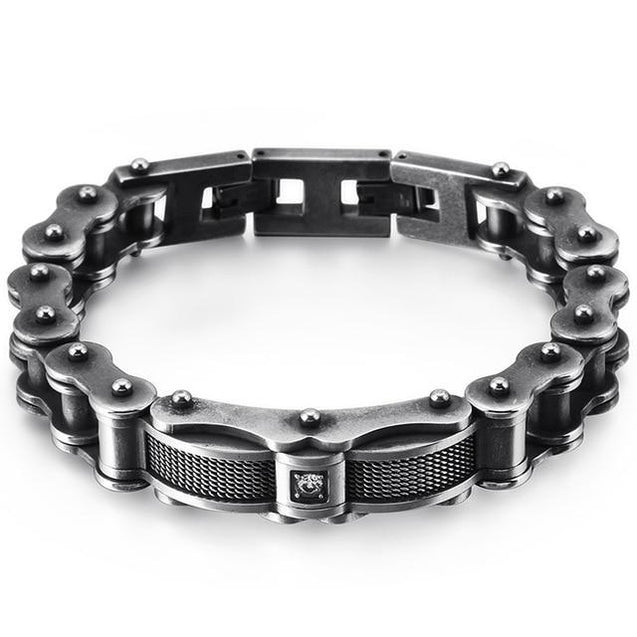 Biker Chain Bracelet with Zirconia Stone in Two Color Tones - InnovatoDesign