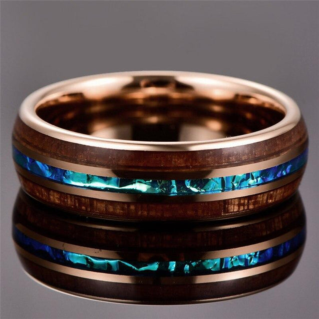 Rosegold Tungsten Carbide in Blue Inlay with Wood Koa Wedding Band - InnovatoDesign