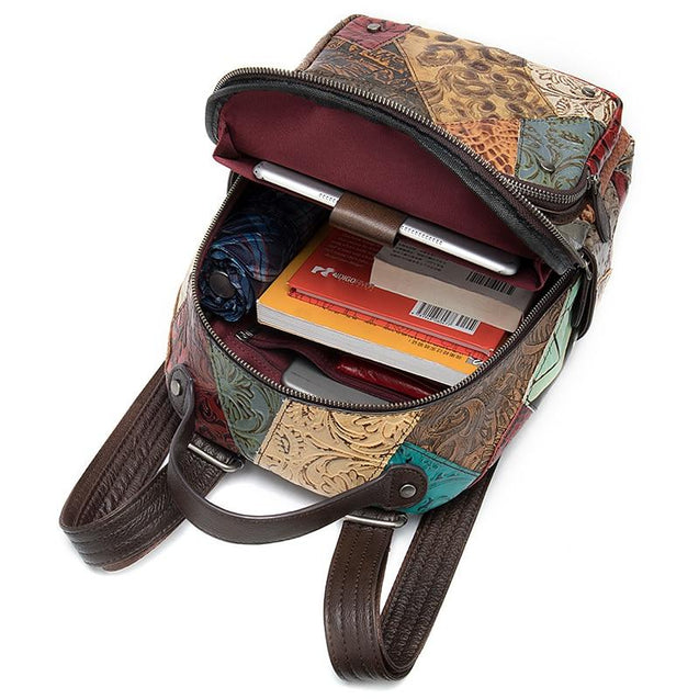 Genuine Leather Embossed Floral Backpack with Patchwork Design - InnovatoDesign