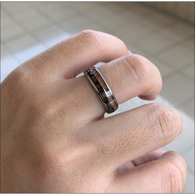 6mm Silver Tungsten Carbide in Two-Tone Koa Wood with Silver Arrow Wedding Band - InnovatoDesign