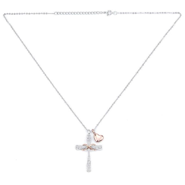 Silver Crystal Cross Pendant with Rose Gold Infinity Symbol and Heart Charm Necklace - InnovatoDesign