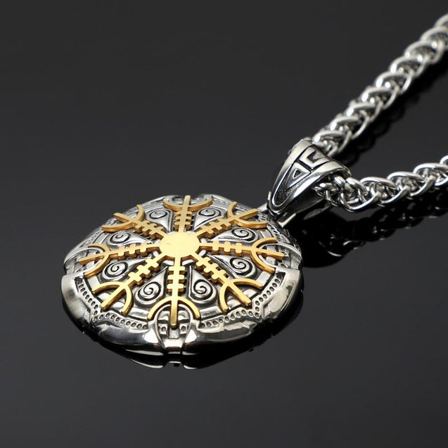 Circular Protection Rune Pendant with Removable Helm of Awe Plate - InnovatoDesign