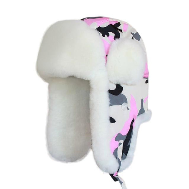 Camouflage Women's Winter Bomber Hat with Earflaps