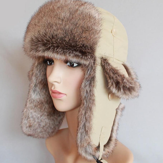 Thick Beige Winter Fur Bomber Hat with Earflaps