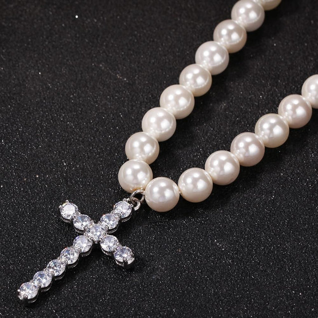 Pearl Necklace with Cubic Zirconia Cross Pendant Necklace - InnovatoDesign