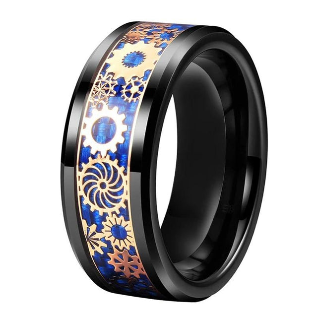 Black Tungsten Carbide in Blue Inlay with Rosegold Gear Design Wedding Band - InnovatoDesign