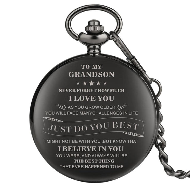 Classic Black Pocket Watch With Engraved Message to Grandson - InnovatoDesign