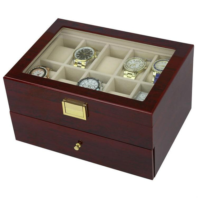 Dark Brown Wood Finish Watch Case Display 2 Layer Storage - InnovatoDesign