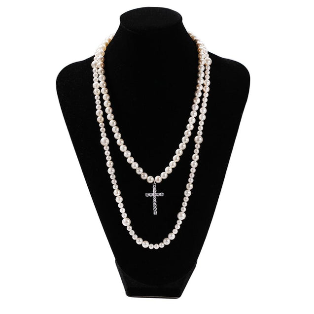 Long Pearl Necklace with Cubic Zirconia Cross Pendant - InnovatoDesign