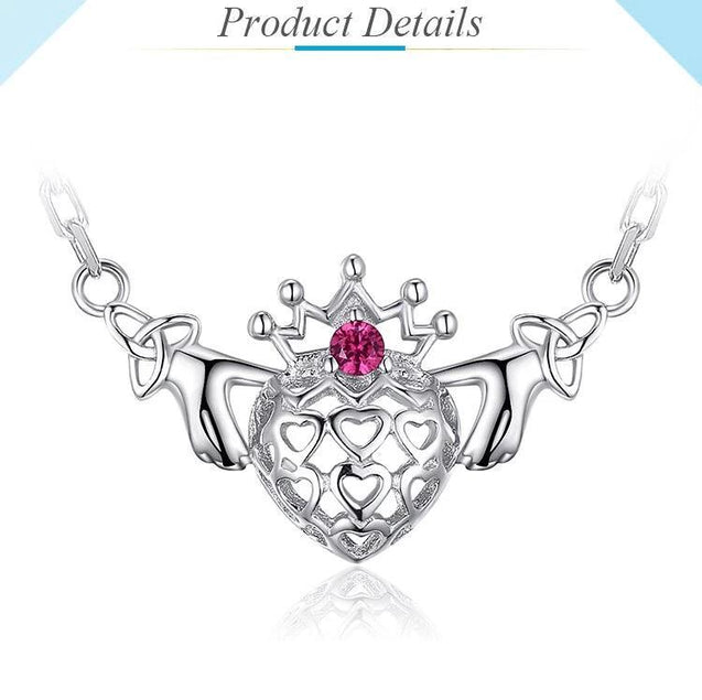 925 Sterling Silver Claddagh Pendant Necklace with Triquetra Chain Pattern & Gemstone - InnovatoDesign
