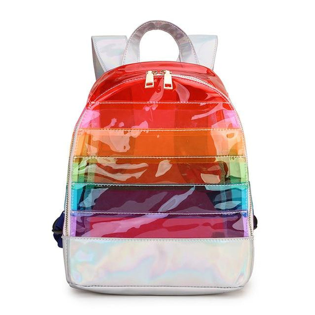 Rainbow Women's Multicolor Striped Travel Clear Backpack - InnovatoDesign