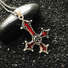 Inverted Silver Gothic Cross Pendant with Blood Red Inlay - InnovatoDesign