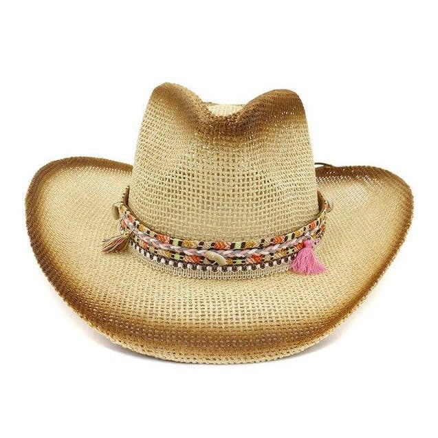 Brown Spray Paint Paper Straw Cowboy Hat