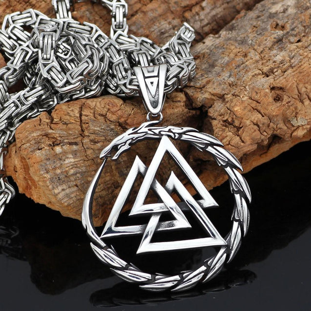 Viking's Valknut Amulet Pendant Necklace with Byzantine Chain - InnovatoDesign