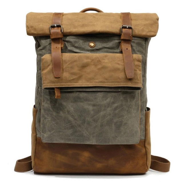 Brown/Green Canvas Waxed Leather 20 Litre Backpack - InnovatoDesign