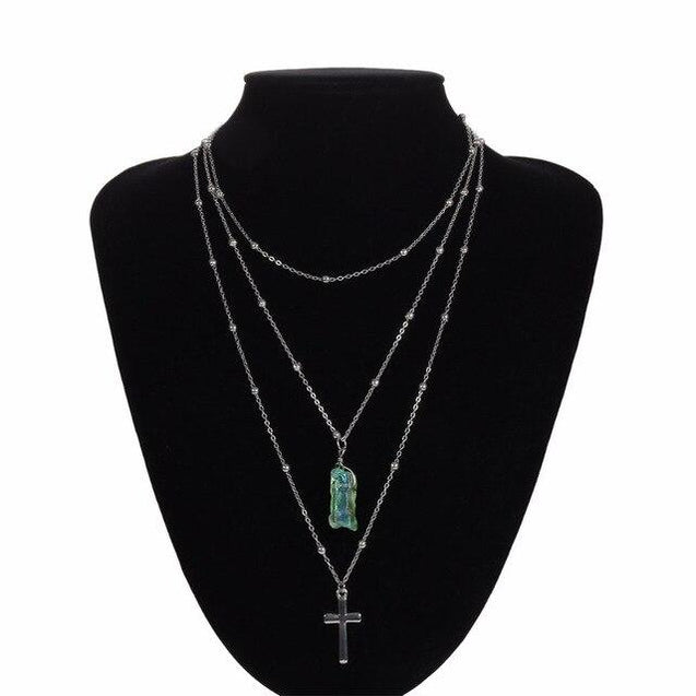Silver Multi-layer Chain Necklace with Jade Crystal and Silver Cross Pendants - InnovatoDesign