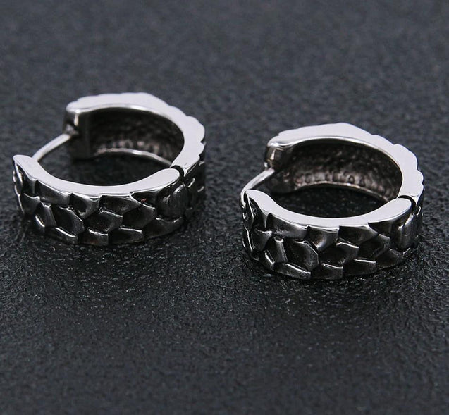 Men's Stainless Steel Black Cross Hoop Earrings - InnovatoDesign