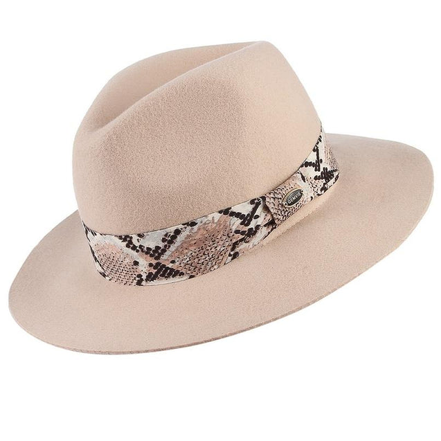 Wide Brim Wool Fedora Hat with Snake Skin Striped Band