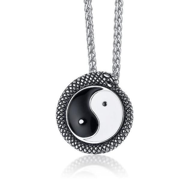 Tai Chi Yin Yang Silver Black Stainless-Steel Necklace - InnovatoDesign