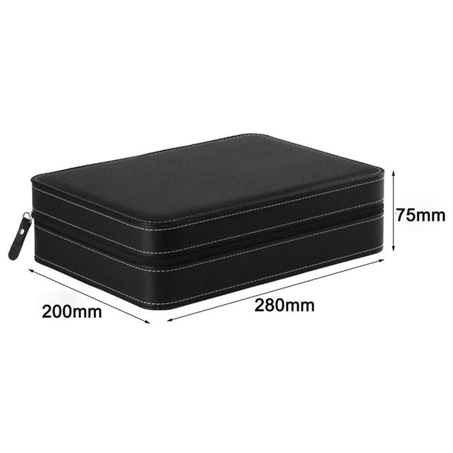 10 Slots Black Portable Travel Watch and Jewelry Storage Box - InnovatoDesign