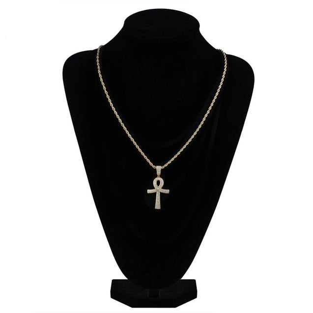 Metallic Ankh Pendant with Cubic Zirconia Crystals and Chain Necklace - InnovatoDesign