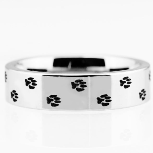 Classic Dog Paw Print Design Tungsten Carbide Wedding Rings