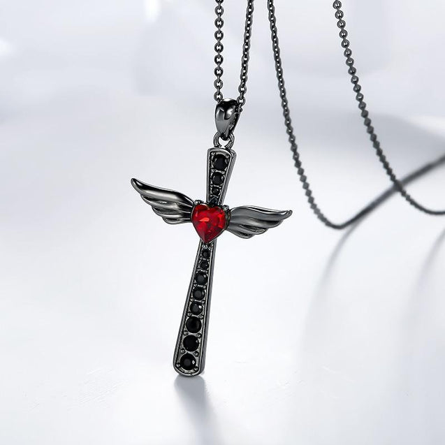 Black Wings Ruby Heart Cross Pendant and Chain Necklace - InnovatoDesign
