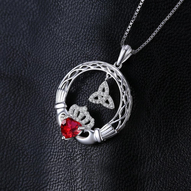 Celtic Triquetra & Claddagh Ruby Pendant Necklace 925 Sterling Silver - InnovatoDesign