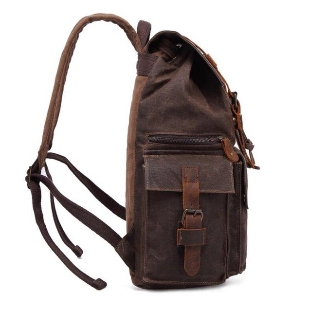 Retro Canvas Leather Waterproof Backpack 20 Litre - InnovatoDesign