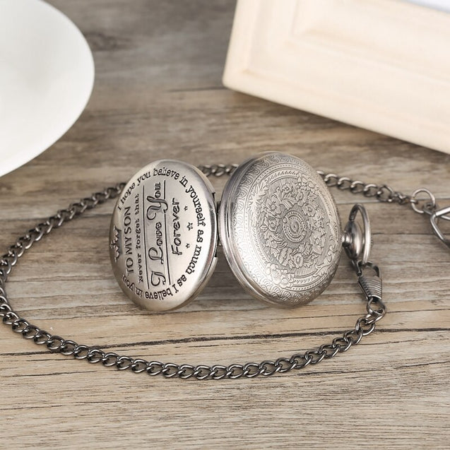 """To My Son, Never Forget That I Love You"" Retro Engraved Quartz Pocket Watch"