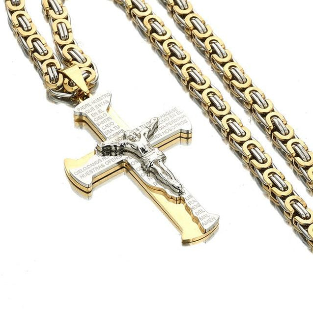 Stainless Steel Two-Tone Crucifixion Necklace Byzantine Chain - InnovatoDesign