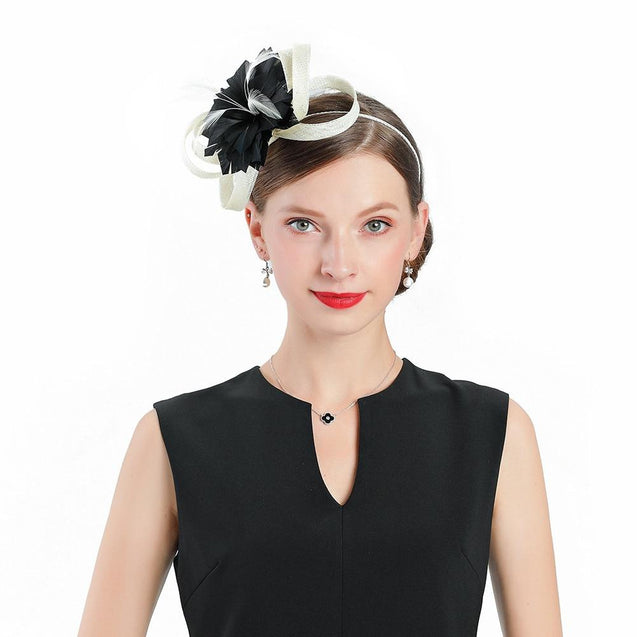 Black Flower Headband Pillbox Fascinator Hat with White Feathers