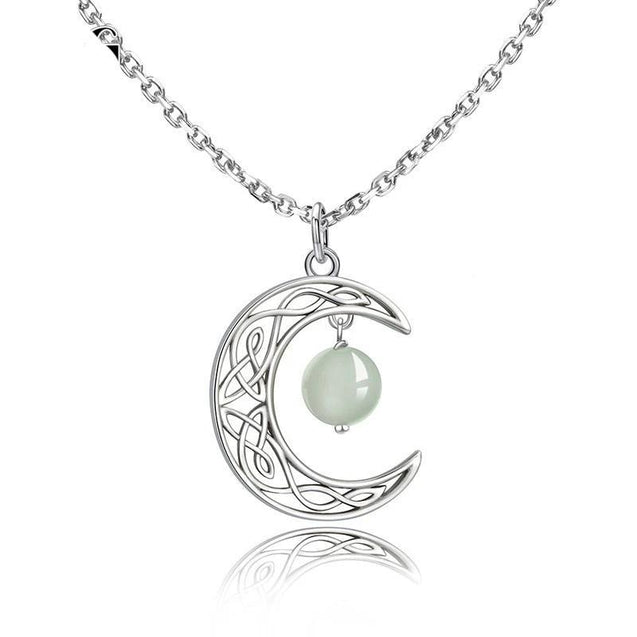 Sterling Silver Crescent Moon with White Bead Pendant Necklace - InnovatoDesign