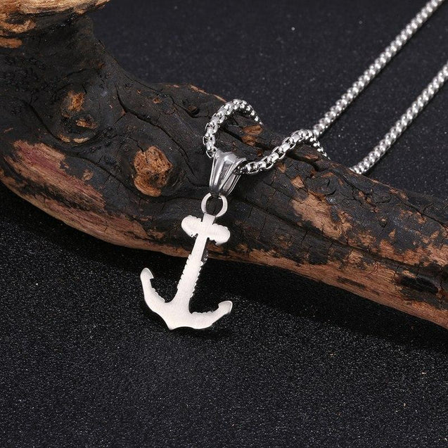 Stainless Steel Silver Rope Wrapped Anchor Pendant Necklace - InnovatoDesign