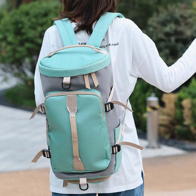 Three-Way Fitness Green/Pink 25 to 35 Litre Backpack with Shoe Compartment - InnovatoDesign