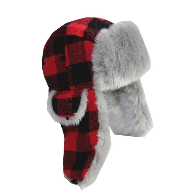 Warm Thick Red Plaid Trapper Cashmere Fur Bomber Hat with Earflaps